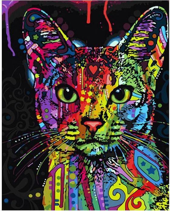 Colorful Cat DIY Painting By Numbers - BG's Cool Nerd