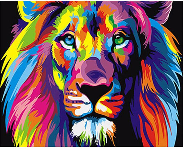 Colorful Lion DIY Painting By Numbers - BG's Cool Nerd