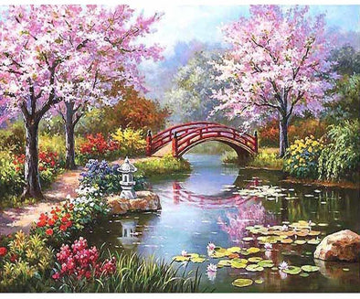 japanese garden diy painting by numbers - Japanese Garden Cherry Blossom Paintings