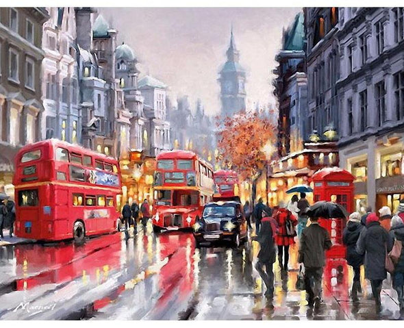 London in the Rain DIY Painting By Numbers - BG's Cool Nerd