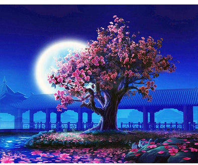 Romantic Moon Night Landscape DIY Painting By Numbers - BG's Cool Nerd