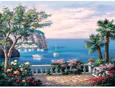 The Mediterranean Sea Landscape DIY Painting By Numbers - BG's Cool Nerd