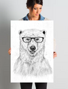 'Geek Bear' Graphic Art on Wrapped Canvas - BG's Cool Nerd