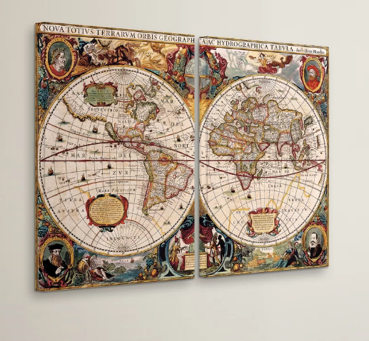 World Map 2 Piece Framed Graphic Art On Wrapped Canvas Set Bg S Cool Nerd