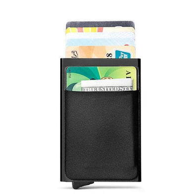 RFID Blocking Mini Slim Metal Wallet with Automatic Credit Card Holder - BG's Cool Nerd