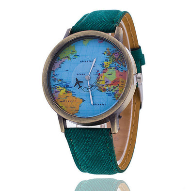Global Travel By Plane Map Quartz Watch - BG's Cool Nerd