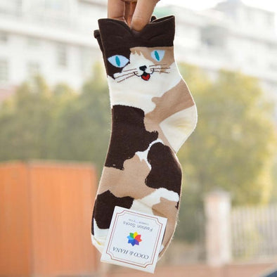 3D Cat Footprints Striped Cartoon Socks - BG's Cool Nerd