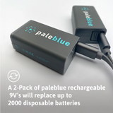 Pale Blue 9V 2-pack (incl charging cable)