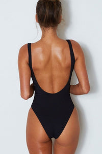 Santorini One Piece in Black on model