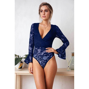 Lacey Bodysuit in blue on model