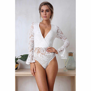 Lacey Bodysuit in white on model