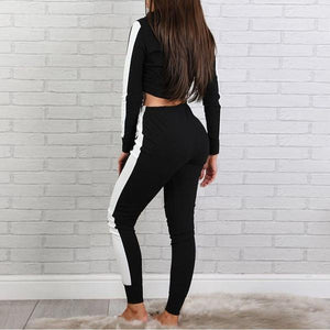 Black Cropped Track Suit on model