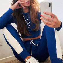 Blue Cropped Track Suit on model