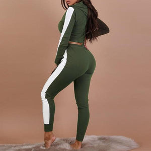 Army Green Cropped Track Suit on model