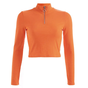 Orange crop top, long sleeve crop top, mock neck, mock neck crop top