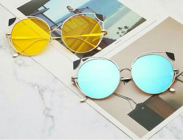 Yellow & Gold & Blue & Silver Cali Cat-Eye Sunglasses