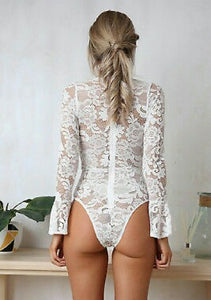 White Lace Bodysuit on model