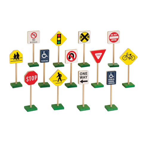 "7"" Block Play is set of 13 prominent traffic signs teach safety and accurate recognition of standard roadway signs at an early age while satisfying a child's curiosity and fun for block play. Create complete roadways with our Plywood Trucks and Vehicle collection. Signs are made from wood and stand on sturdy, non-tip bases. Ages 3+."