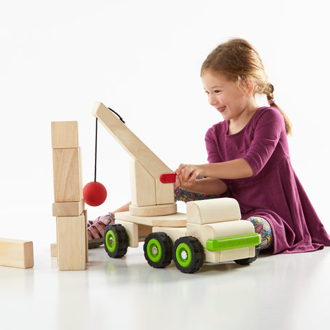 Block Science - Big Wrecking Ball Truck. Children can use the wrecking ball to knock down their Unit Block structures, thus developing social, emotional and conflict resolution skills, while learning about simple machine and STEM concepts.