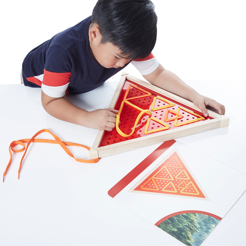 Jumbo Geo Lacing. Children can experiment with color, patterns, letters, and pictures within the square, circular, and triangular frames