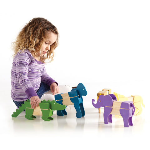 Block Mates Safari.  The set features five familiar safari animals: rhino, elephant, gorilla, alligator, and lion.