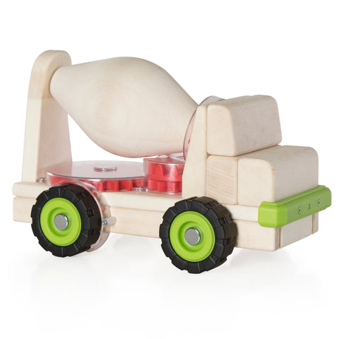 Block Science - Big Cement Mixer Truck.  This large wooden cement truck carries a cement mixer which is connected to the wheels of the truck by 5 different gears. When the truck is moved, the cement mixer turns, teaching children to recognize and investigate the mechanics of using gears.