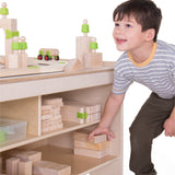 Block Science Table.  Children use the multi-level table to create cities, subways, secret tunnels and more.