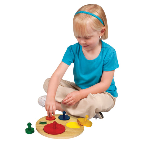 Circle Sorter.  Improves fine-motor skills and hand-eye coordination. Age: 3+