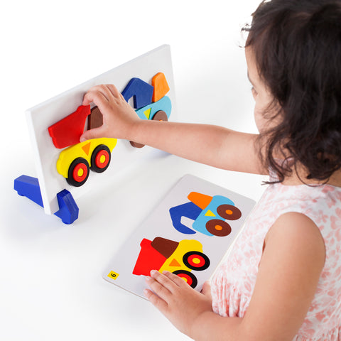 Construction Trucks Sort and Match.  Sort and Match is the perfect way to teach color and shape-matching, sorting, sequencing, and pattern-recognition in a fun, game-like setting.