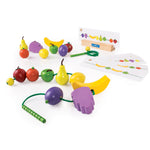 Count and Lace Fruit promotes fine-motor and sequencing skills, ideal for individual and small group play, as well as encourages storytelling and dialogue with the caterpillar characters.