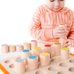 Cylinder Steps.  Stackable, colorful Cylinder Steps encourage fine motor and identification skills while exploring seriation and color gradients.