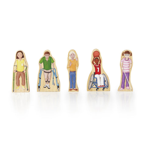 "Wedgies classic wooden toy balances both dramatic play and block play with colorful, charismatic characters. Five active children with special needs promote positive awareness. Solid wood, wedged-shaped characters feature double-sided artwork with intricate details and personality, and wide, no-topple bases. 4.5""H figures. Educational Focus: Storytelling, dramatic play, fine motor skills and social awareness Suggested Age: 3+"