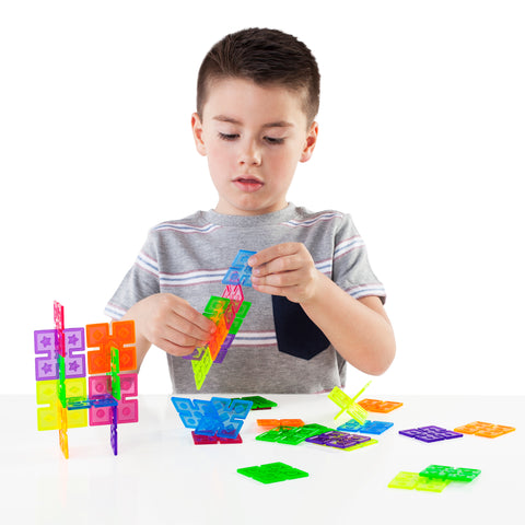 Interlox Squares set helps children discover symmetry and asymmetry while strengthening their design, structure and balance skills