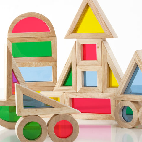 Jr Rainbow Block 20 Piece Set. One-third smaller than the unit block size, Jr. Rainbow Blocks are a new challenge in creating structures and extending traditional block play.