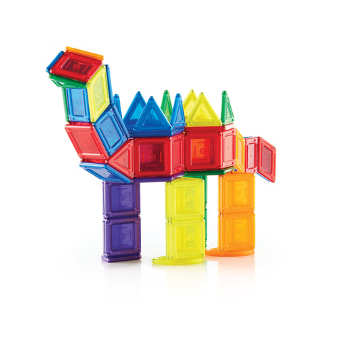 PowerClix® Solids - 70 Piece Set. Created for the younger boys and girls, both 2D and 3D forms may be built by distilling the structures down to simple solid geometric shapes, furthering their understanding of how mass and volume are used to model an object.