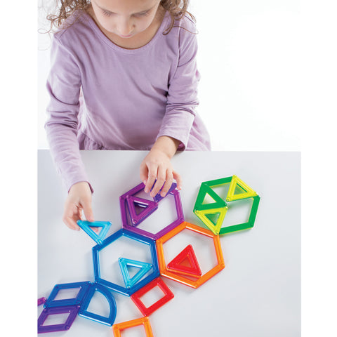 PowerClix® Frames - 100 Piece Set.  Boys and girls may build unlimited 3D forms by visualizing the underlying design structure of an object, then creating a wireframe model of it using magnetic frames of geometric shapes.