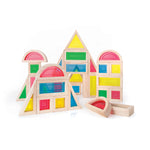 Rainbow Blocks Set 30 Piece Set. Educational Focus: Visual perception, mathematical skills or light table activities with STEM applications