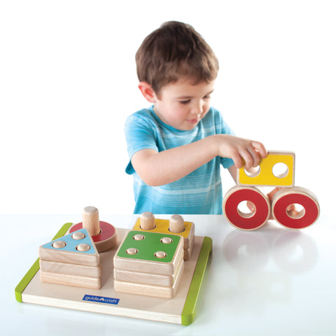 Sort and Stack Shapes.  Promotes fine-motor control, spatial concepts and matching For Ages: 2+