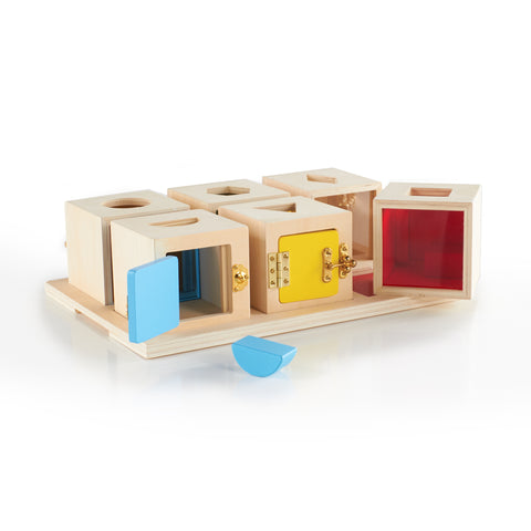 Peekaboo Lock Boxes Set of 6.  This set of six wooden lock boxes is ideal for learning shape, color, and spatial relationship