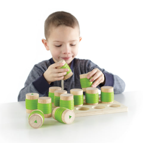 Weight Cylinders develop children's ability to perceive and differentiate weights. This learning toy builds concentration, matching and focusing skills.