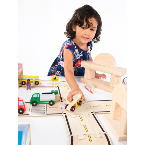 Wooden Vehicle Collection 12 piece set is a colorful and recognizable, includes vehicles such as the police car, school bus, ambulance, fire truck and many more!  is great for fine motor, cognitive and hand/eye development.