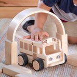 Wooden School Bus.  A great addition to any classroom or playroom block play area.