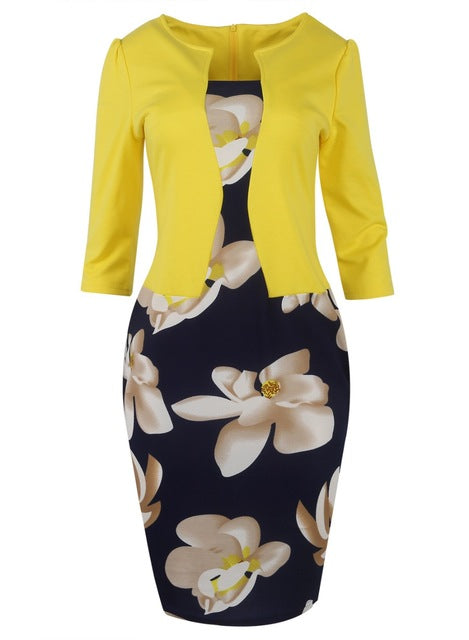 Floral Print Elegant Business Dress