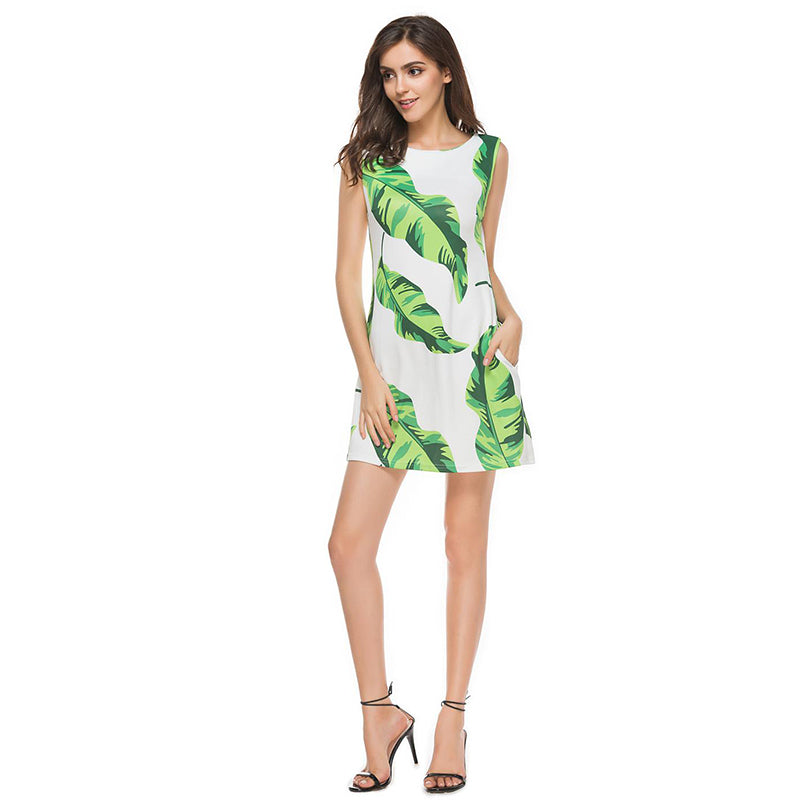 Artisan Palm Leaf Print Sundress