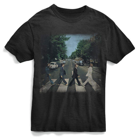 The Beatles Abbey Rd Distressed - Mens Black T-Shirt