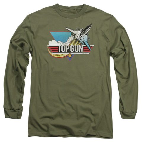 Top Gun - Distressed Logo Long Sleeve Adult 18/1
