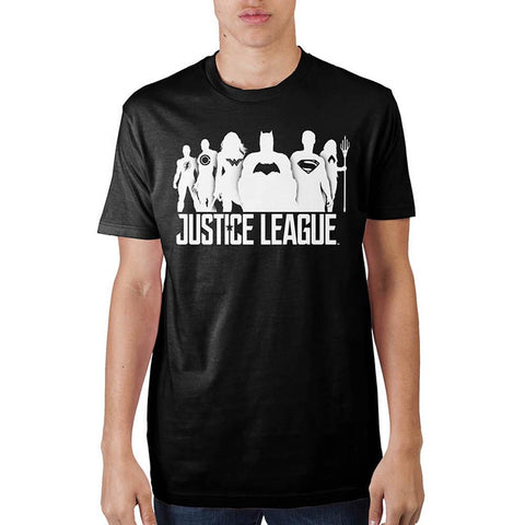 DC: Justice League - White Group Silhouette Men's Black T-Shirt