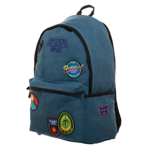 Ready Player One Character Inspired Backpack with Gunter Patches, Soft Blue Patches Knapsack