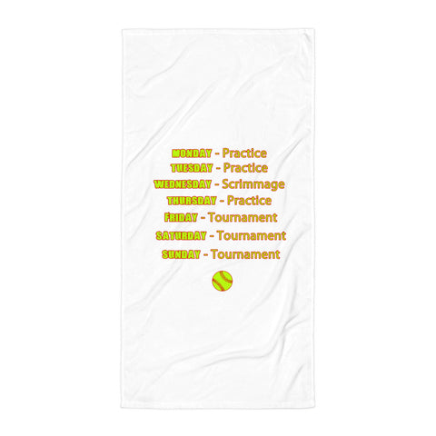 """Softball Schedule"" Beach Towel"