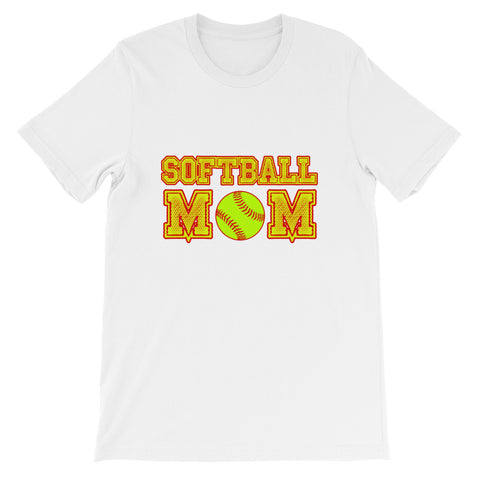 """Softball Mom"" Unisex short sleeve t-shirt"